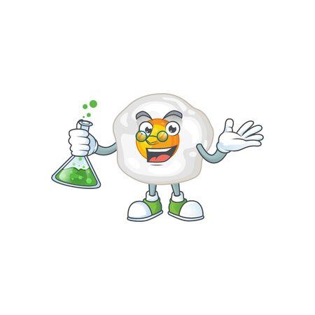 Fried egg brainy Professor Cartoon design grasp a glass tube. Vector illustration