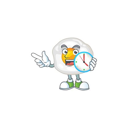 cartoon character style of cheerful fried egg with clock. Vector illustration