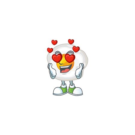 Romantic fried egg cartoon character with a falling in love face. Vector illustration