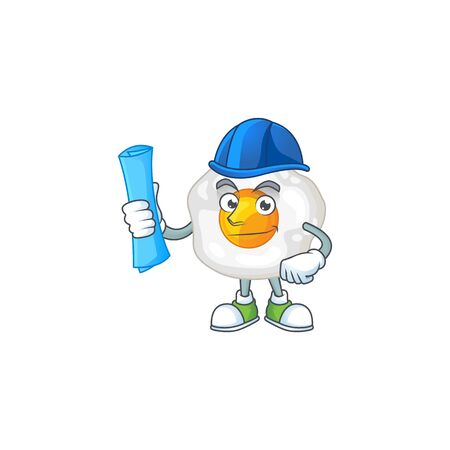 A clever Architect of fried egg with blue prints and blue helmet. Vector illustration