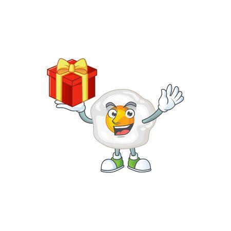 A mascot design style of fried egg showing crazy face. Vector illustration Ilustração