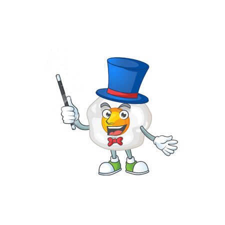 Charming fried egg cartoon design performance as a Magician style. Vector illustration