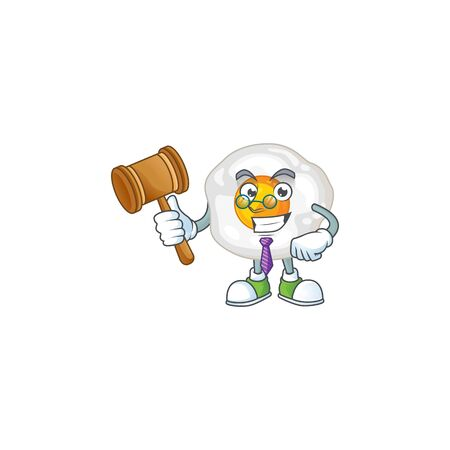 Fried egg wise judge cartoon character design with cute glasses. Vector illustration