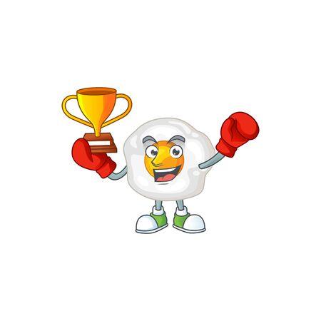 Happy face of boxing winner fried egg in mascot design style. Vector illustration