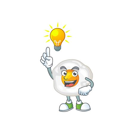 Fried egg mascot character design with have an idea cute gesture. Vector illustration