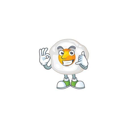 Call me funny gesture fried egg mascot cartoon design. Vector illustration