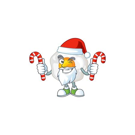 Friendly fried egg in Santa Cartoon character with candies. Vector illustration Ilustração