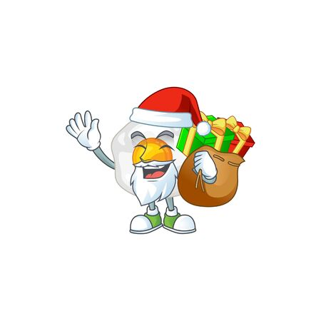 Fried egg Cartoon character of Santa with box of gift. Vector illustration