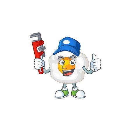 Smart Plumber worker of fried egg cartoon character design. Vector illustration