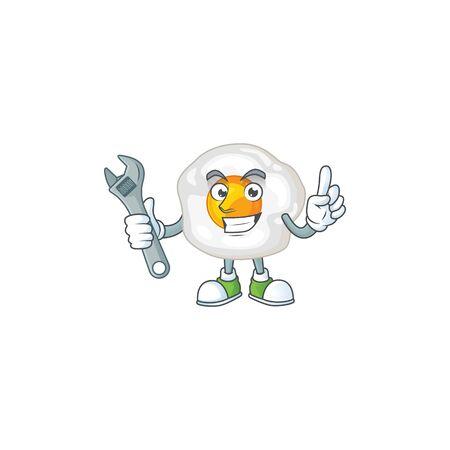 mascot design concept of fried egg mechanic. Vector illustration