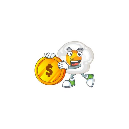 mascot cartoon character style of fried egg showing one finger gesture. Vector illustration