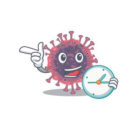 Cheerful microbiology coronavirus cartoon character style with clock Çizim