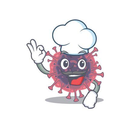 Cute microbiology coronavirus cartoon character wearing white chef hat