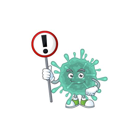 Smiling cartoon design of coronaviruses with a sign. Vector illustration