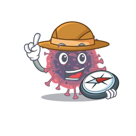 Microbiology coronavirus an experienced explorer with a compass Иллюстрация
