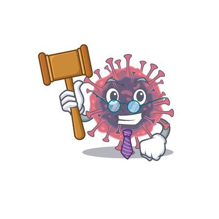 Charismatic Judge microbiology coronavirus cartoon character design wearing cute glasses Illusztráció
