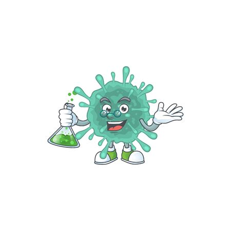 Coronaviruses brainy Professor Cartoon design grasp a glass tube. Vector illustration
