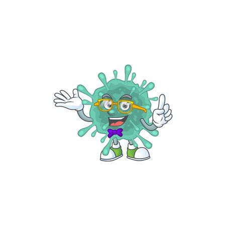 Super Funny coronaviruses in nerd mascot design style. Vector illustration