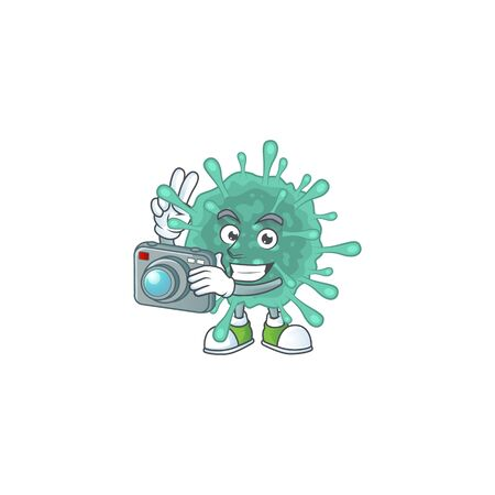 Coronaviruses mascot design as a professional photographer with a camera. Vector illustration
