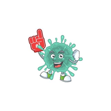 Coronaviruses presented in cartoon character design with Foam finger. Vector illustration