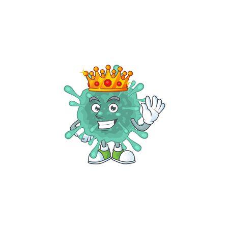 A Charismatic King of coronaviruses cartoon character design. Vector illustration