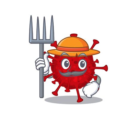 Betacoronavirus in Farmer cartoon character with hat and pitchfork