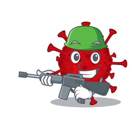 A picture of betacoronavirus as an Army with machine gun