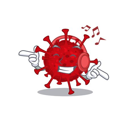 enjoying music betacoronavirus cartoon in mascot design