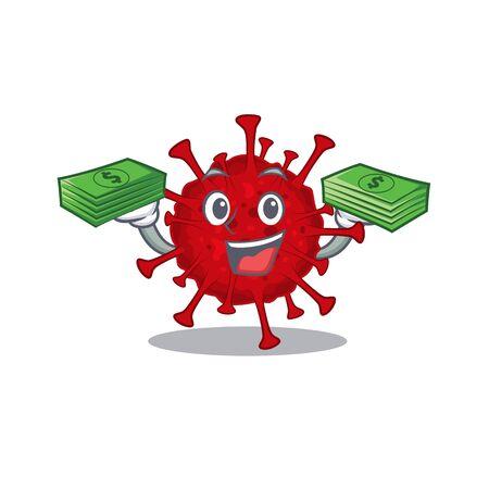 happy face betacoronavirus character having money on hands