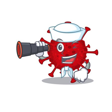 Betacoronavirus in Sailor cartoon character design with binocular Vettoriali