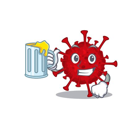 Cheerful betacoronavirus mascot design with a glass of beer