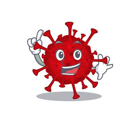 One Finger betacoronavirus in mascot cartoon character style Vettoriali