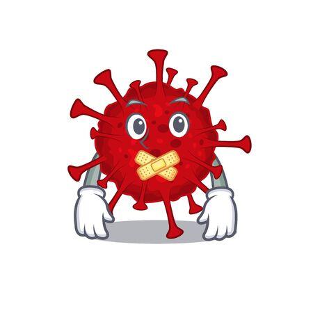 Betacoronavirus mascot cartoon character design with silent gesture