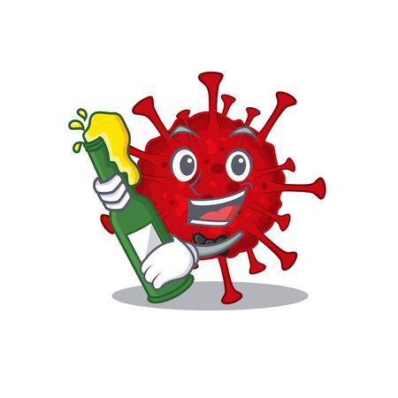 Betacoronavirus with bottle of beer mascot cartoon style