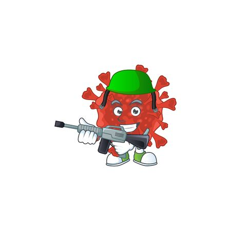 An elegant picture of red corona virus as an Army having machine gun. Vector illustration