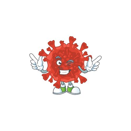 Funny red corona virus cartoon design style with wink eye face. Vector illustration