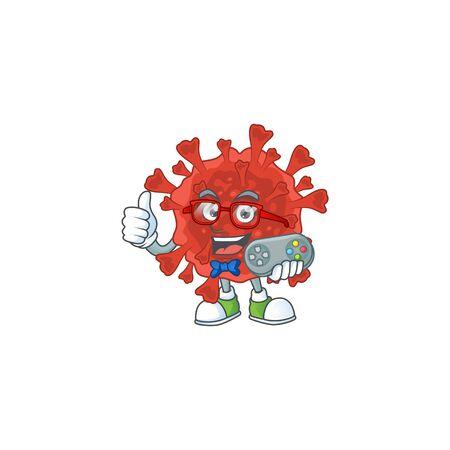 Talented red corona virus gamer mascot design using controller. Vector illustration Illustration