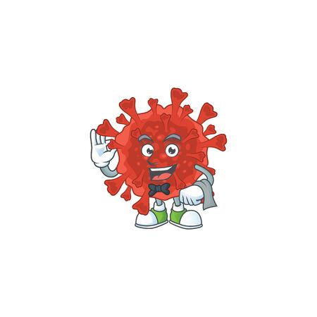 A character of red corona virus waiter working in the restaurant. Vector illustration