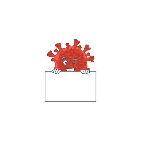 Cheerful red corona virus cartoon character has a board. Vector illustration