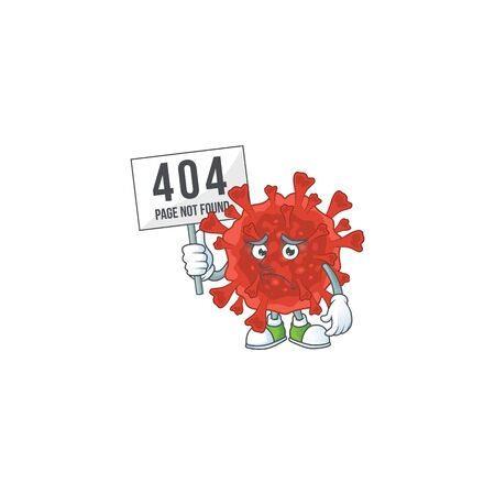 joyful cartoon character of red corona virus elevate a board. Vector illustration