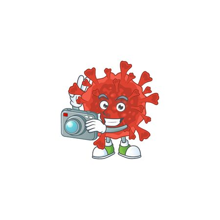 Red corona virus mascot design as a professional photographer with a camera. Vector illustration