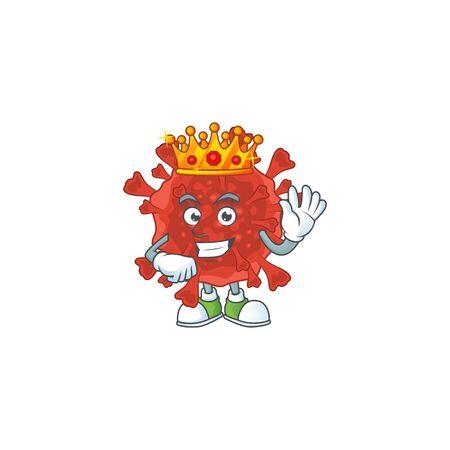 A Charismatic King of red corona virus cartoon character design. Vector illustration Illusztráció