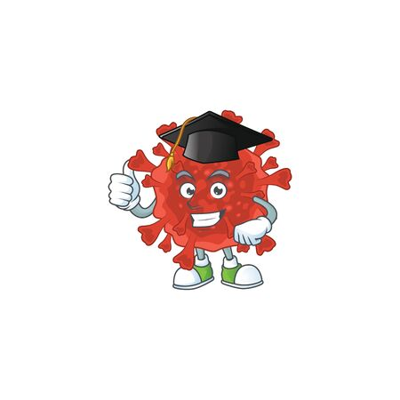 Happy face of red corona virus in black graduation hat for the ceremony Illustration