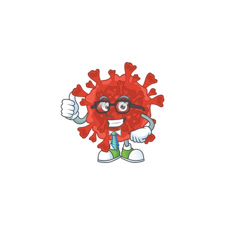 Red corona virus successful Businessman cartoon design with glasses and tie