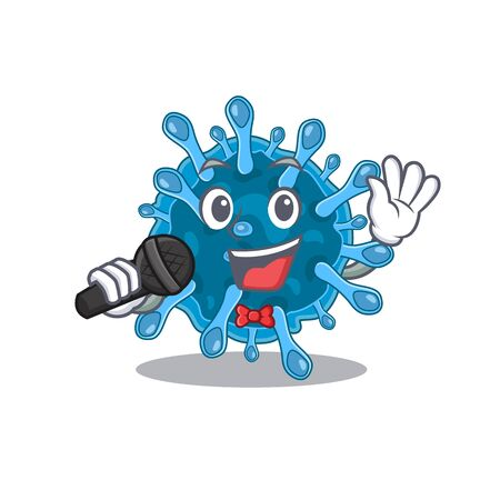Cute microscopic corona virus sings a song with a microphone. Vector illustration