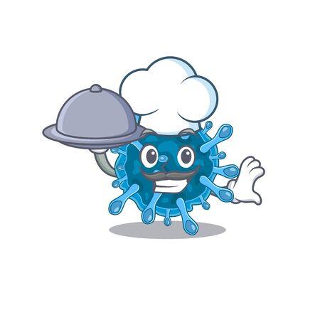 Microscopic coronavirus as a chef cartoon character with food on tray. Vector illustration