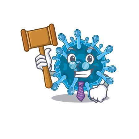 Charismatic Judge microscopic corona virus cartoon character design wearing cute glasses. Vector illustration