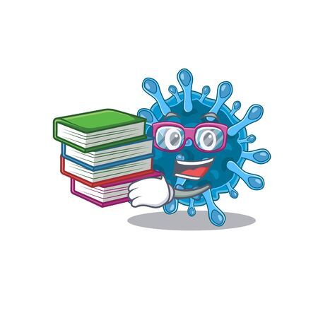 A diligent student in microscopic corona virus mascot design with book. Vector illustration