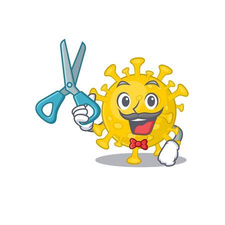 Cool Barber corona virus diagnosis mascot design style. Vector illustration