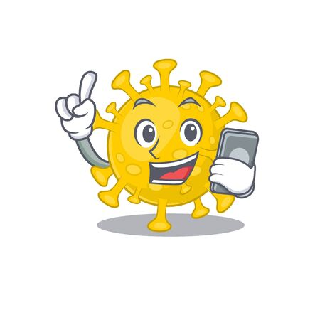 Mascot design of corona virus diagnosis speaking on phone. Vector illustration
